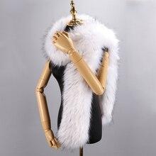 Зимняя женская шаль 180 см, длинные шарфы, однотонные пашмины из искусственного лисьего меха для женщин, пальто, курток
