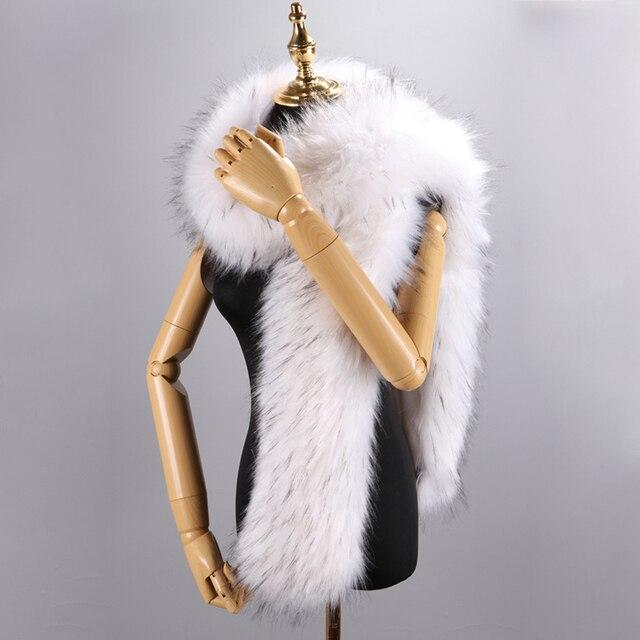 180cm חורף חם צעיף צווארון צעיף כורכת ליידי פרווה ארוך צעיפי מוצק צבע סימולציה פרוות שועל Pashminas עבור נשים מעיל מעילים