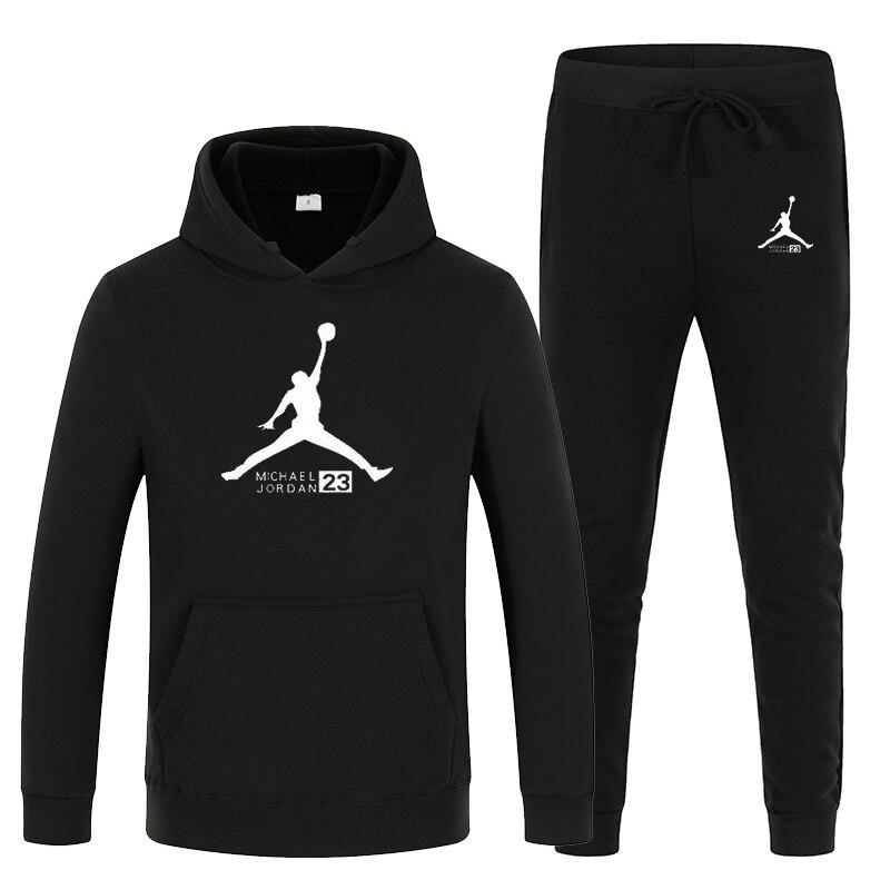 23 Print Autumn Winter Hot Sale Men's Sets Hoodie+pants 2 Pieces Sets Casual Tracksuit Male Sportswear Gyms Fitness Sweatpants
