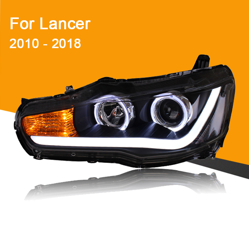 1 Pair Headlight Assembly For Mitsubishi Lancer EVO X 2010 - 2018  With LED DRL Running Light Turning Signal