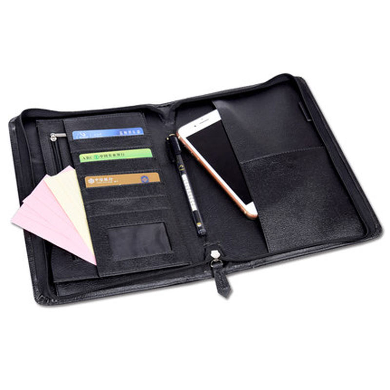 Yiwi Black 260x190mm Zip Business Manager Conference File Folder Organizer Signature agreement padfolio(China)