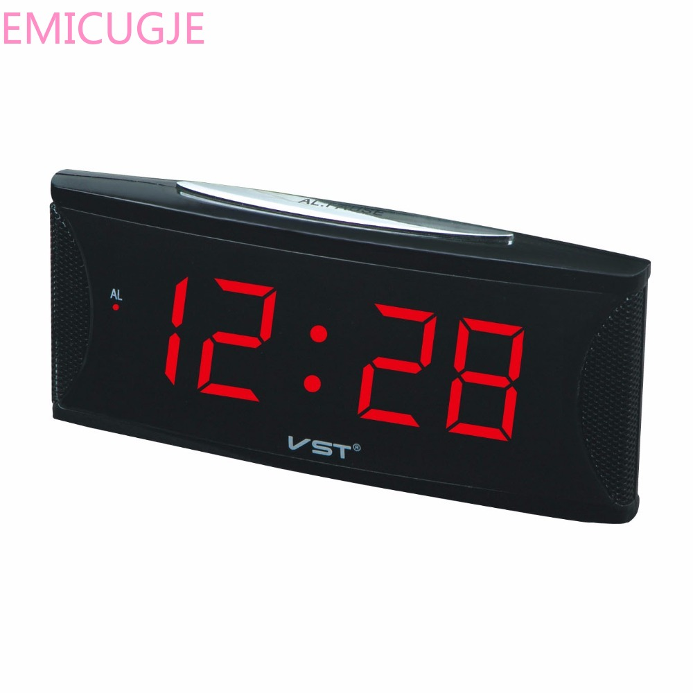 VST Modern decor digital led alarm clock with EU plug big numbers electronic table clock Bedside glowing alarm clock led clock image
