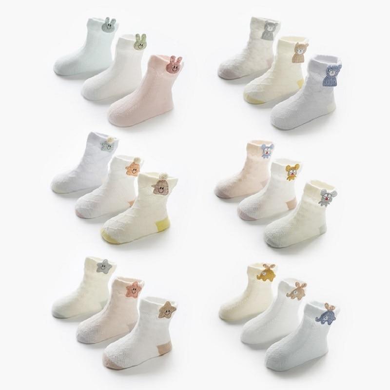 3 Pairs / lot Baby Socks Mesh Socks Thin Cotton Models Boys Girls Socks Boneless Suture Newborn Socks Accessories Children Socks 4