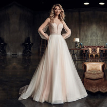 Wedding-Dress Long-Sleeve Champgne Custom-Made O-Neck Eightale Pearls A-Line