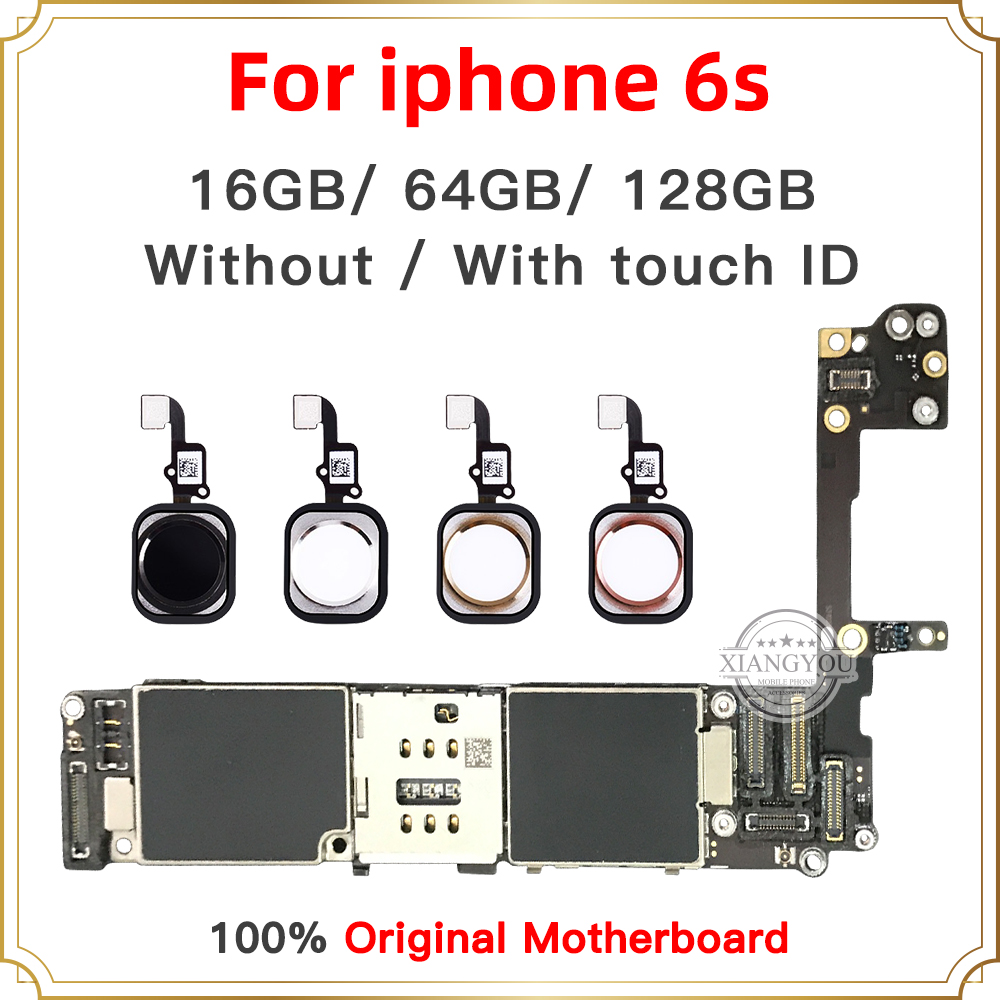 Full Unlocked For Iphone 6S 6 S Motherboard With/Without Touch ID Original For Iphone 6S Mainboard With Full Chips 16GB 64G 128G