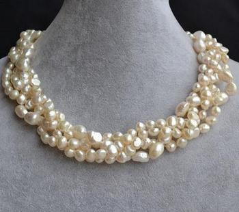 Unique Pearls jewellery Store Wedding Pearl Necklace White Baroque Genuine Freshwater Pearl Necklace Ring Clasp Fine Jewelry