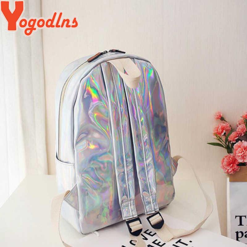YogodlnsหญิงHolographicกระเป๋าเป้สะพายหลังผู้หญิงนุ่มหนังเลเซอร์PU Travel Packbagsเงินโฮโลแกรมกระเป๋าสำหรับโรงเรียนสำหรับวัยรุ่น