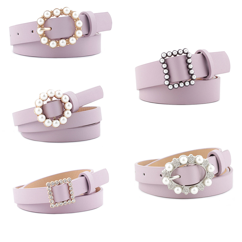 Women Belts Luxury Brand Pearl Rhinestones Decoration Buckle Leather Belt Casual Ladies Waist Belts Female Waistband
