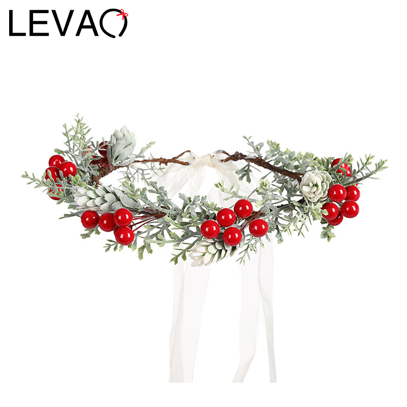 LEVAO Wedding Bride Corolla Head Wreath Boho Fabric Flower Crown Hair Accessories Headband Flower Hairband For Women Fashion New