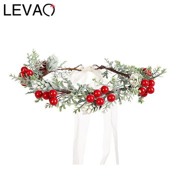 LEVAO Wedding Bride Corolla Head Wreath Boho Fabric Flower Crown Hair Accessories Headband Flower Hairband for Women Fashion New party glowing wreath halloween crown flower headband women girls led light up hair wreath hairband garlands gift