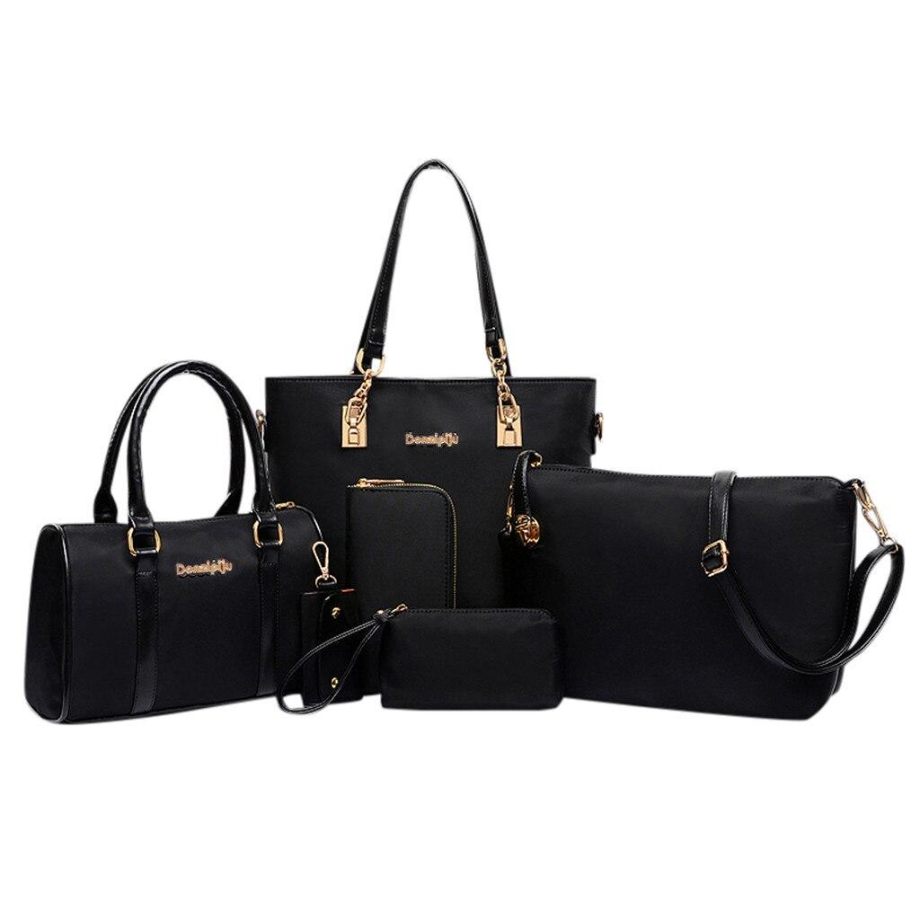 Модные женские наборы сумок, 6 шт., женские сумки, комплект из 6 предметов, однотонная нейлоновая сумка на молнии, дорожная сумка, Большая вмес...