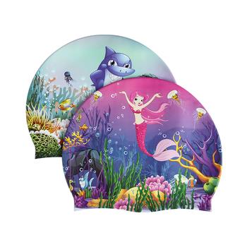 Julysand czepki kąpielowe dla dzieci kreskówka drukowane wygodne silikonowe wodoodporne czepek kąpielowy dla dzieci tanie i dobre opinie CN (pochodzenie) average size Wydrukowano pływanie cap SILICONE