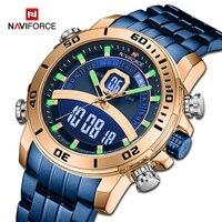 Marca de luxo naviforce relógio do esporte masculino militar digital chr relógio de pulso quartzo relógios à prova dwaterproof água relogio masculino|Relógios de quartzo| |  -