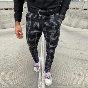 Trousers Casual-Pants Plaid Party Black Stretchy Men's Business Male Social Spring Zipper
