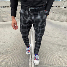 Men #8217 s Casual Pants Plaid Social Slim Fit Black Trousers Zipper Mid Waist Skinny Business Office Work Party Male Spring Stretchy cheap Toplimit Pencil Pants Flat Polyester COTTON Pockets REGULAR Full Length HB20010815 Midweight Broadcloth Zipper Fly Black Navy Grey