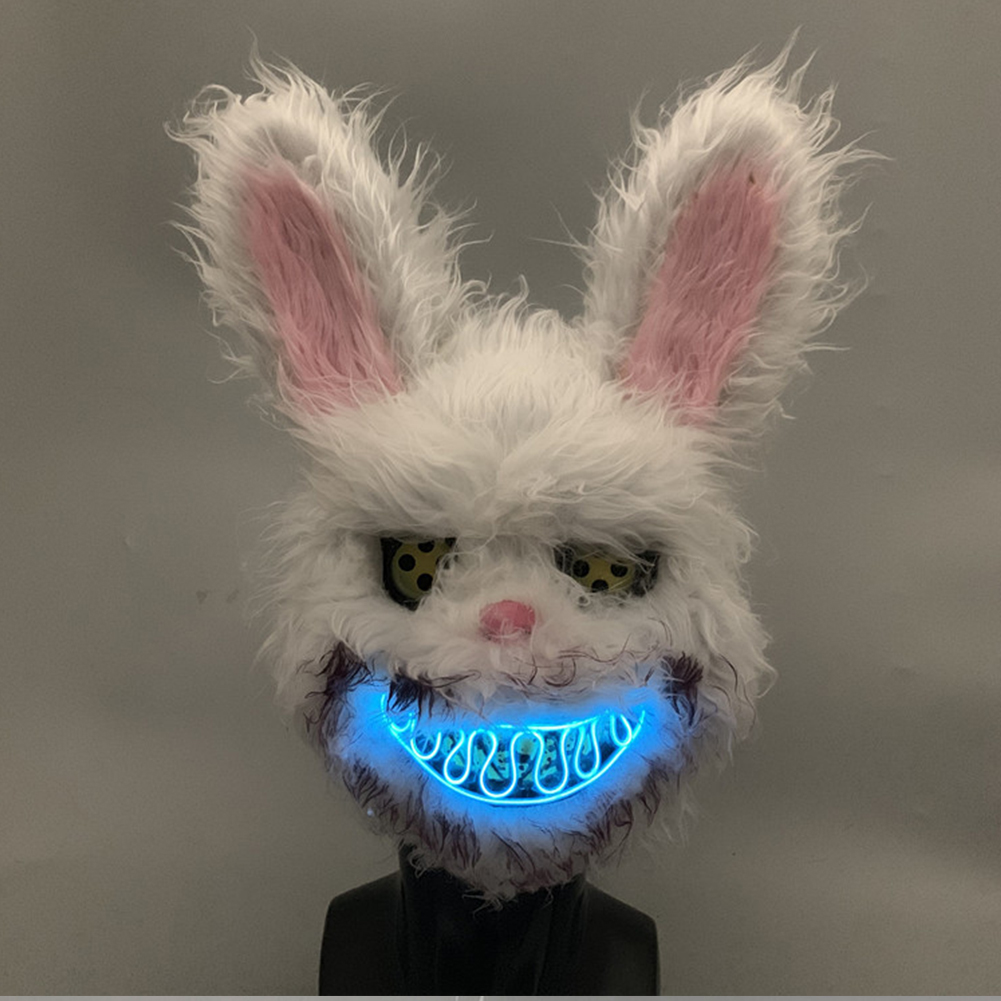 2019 New Luminous Halloween LED Mask Bloody Killer Rabbit Shape Plush Horrir Mask Cosplay Scary Masks For Adults Party Supplies