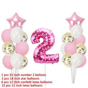 Image 4 - 21 adet numarası 2 folyo balonlar doğum günü partisi süslemeleri kız erkek 2nd balonlar 2 yıl eski ikinci doğum günü malzemeleri