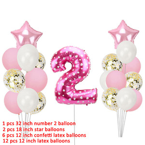 Image 4 - 21pcs Number 2 Foil Balloons Happy Birthday Party Decorations Girl Boy 2nd Balloons 2 Years Old Second Birthday Supplies