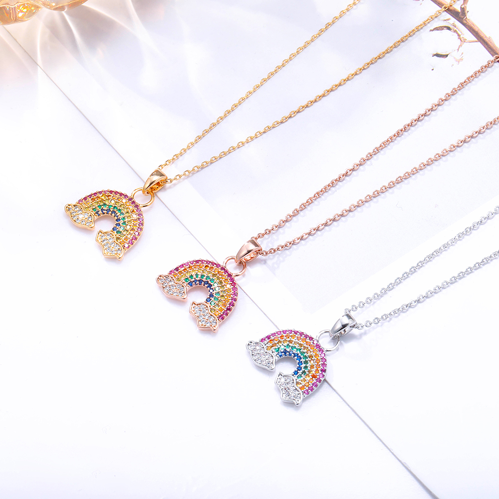 Colorful Cubic Zirconia Rainbow Pendant Necklace For Women Gold Small Sunshine Rain bow Choker Necklace Jewelry Gift 2021 Trend