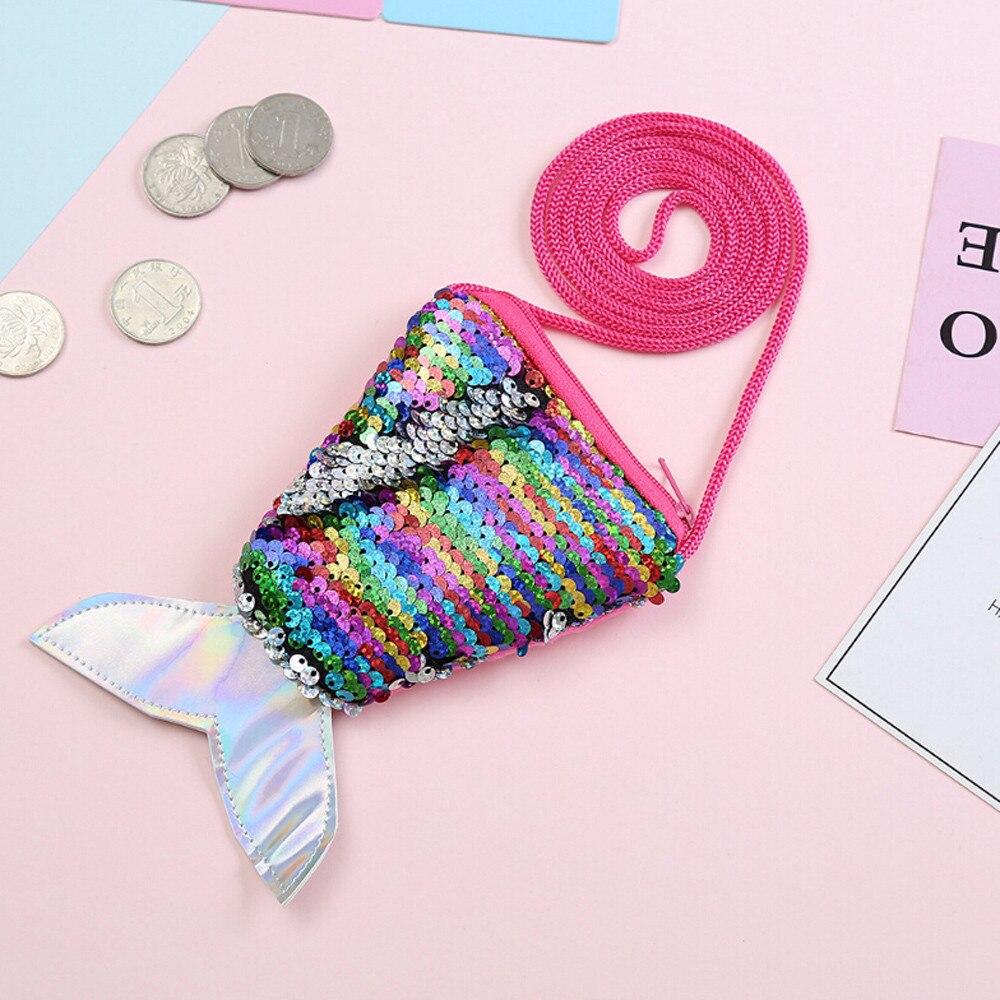 Kids Girls Cute Glitter Sequins Coin Purse Handbag Zip Wallet Pouch Packet Gifts
