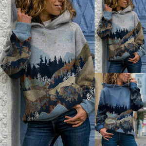 Winter Women Hoodies Fashion Aesthetic Mountain Printed Hooded Sweatshirt Harajuku Plus Size Long Sleeve Female Tracksuit Tops