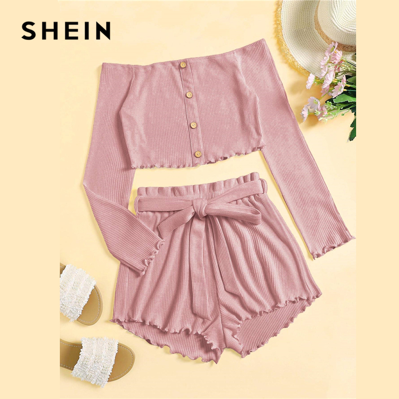 SHEIN Solid Single Breasted Rib Knit Bardot Top And Belted Shorts Set Women Autumn Off Shoulder Long Sleeve Lettuce Trim Outfits