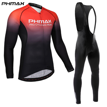 PHMAX 2020 Pro Cycling Clothing Men Cycling Set Bike Clothes Breathable Anti-UV Bicycle Wear long Sleeve Cycling Jersey Set