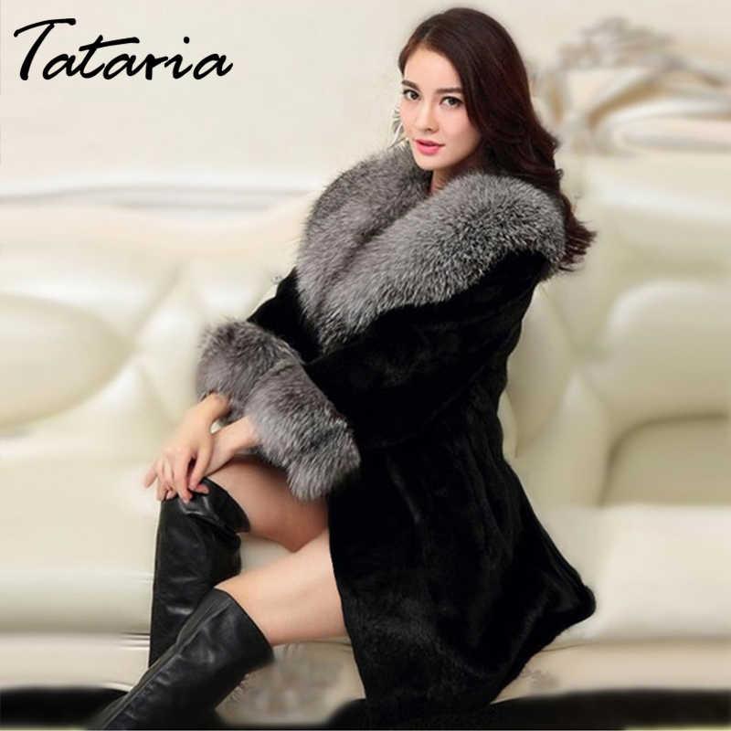 Tataria Hoge Kwaliteit Faux Fur Jas voor Vrouwen Fox Bontkraag Vrouwen Winter Warme Lange Bontjas Vrouwelijke Dikke Toevallige pluche Jassen