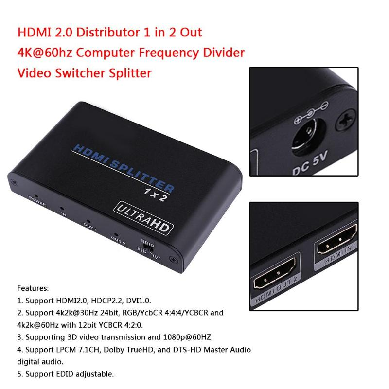 Hdmi Splitter 2.0 Distributor 4Kx2K One In Two Out Frequency Divider Computer Splitter Video Switcher Black Appearance
