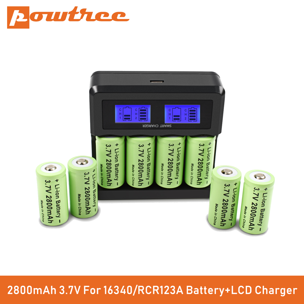 Powtree CR123A RCR 123 ICR 16340 Battery 2800mAh 3.7V Li-ion Rechargeable Battery For Arlo Security Camera L70