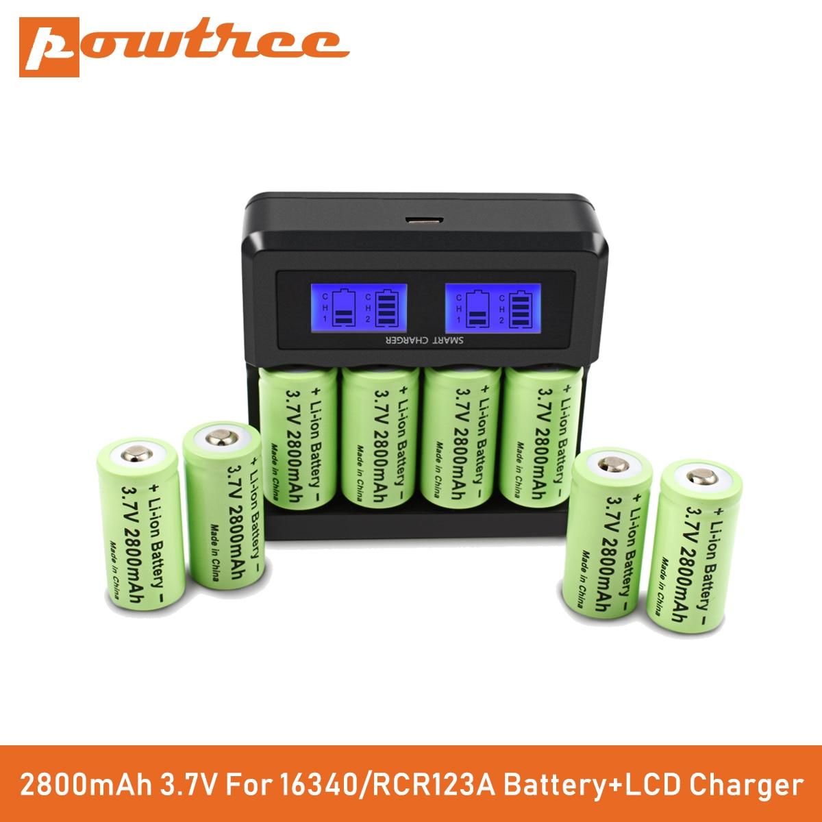 Литий-ионная аккумуляторная батарея Powtree CR123A RCR 123 ICR 16340 2800 мАч 3,7 в для камеры видеонаблюдения Арло L70