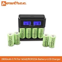 Powtree cr123a rcr 123 icr 16340 bateria 2800mah 3.7v li-ion bateria recarregável para arlo câmera de segurança l70