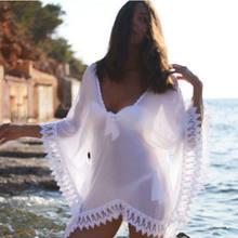 Robe de plage en mousseline de soie et dentelle pour femmes, Cover-Up pour les maillots de bain, caftan Sexy, crochet, vêtements de plage, court