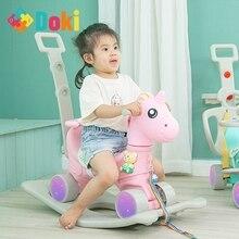 Children Cute Unicorn Rocking Horse Stroller Flashing Wheel Pram Baby Music Multi-Function Rocking Chair Kids Toys Doki Toy