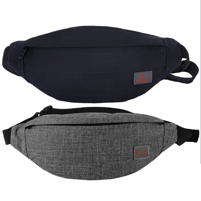 Tinyat 2 Pcs Men Male Casual Functional Fanny Bag Waist Bag Money Phone Belt Bag T201 Canvas Hip Bag Shoulder Belt Pack, Gray &