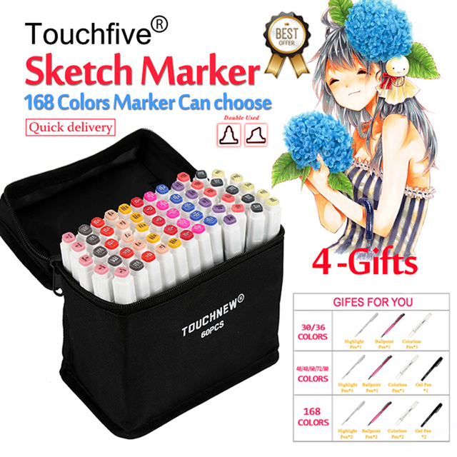 TouchFive Marker 30/40/60/80/168 Colors pen Brush pen Alcoholic Oily based ink Art Marker For Manga Dual Headed Sketch Markers 1