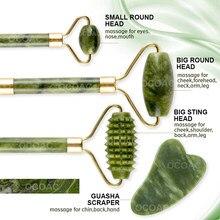 Rouleau de massage en pierre de Jade, 2 pièces, pour le visage, léger, Anti-rides, beauté du visage, soins de la peau