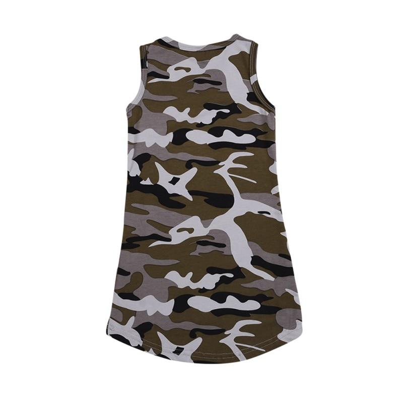 Impressão 1 6T O pescoço de Algodão Padrão de Camuflagem Impressão T shirt Sem Mangas Colete Vestido de Verão Casuais Meninas Do Bebê Crianças Criança vestido de verão - 3