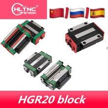 Bloque deslizante HGW20CC HGW15CC flang, guía lineal para piezas de bricolaje, HIWIN HGR20, 4 Uds.