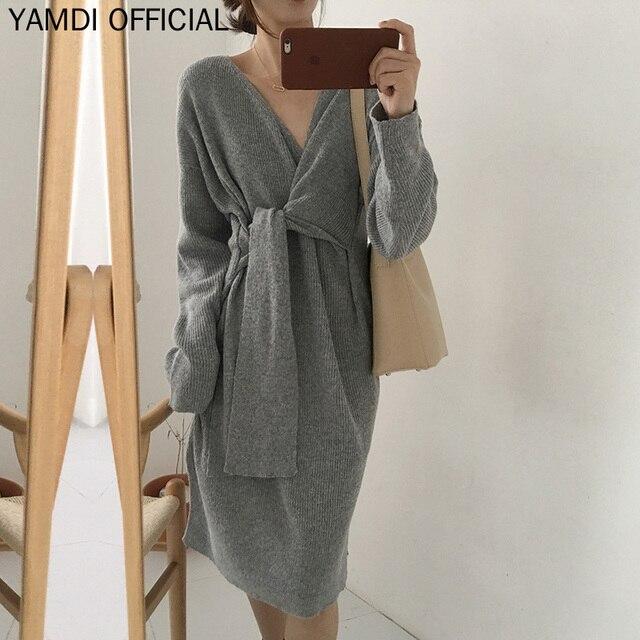 YAMDI Women Autumn Winter Sweater Dress Chic Casual V Neck Solid Woman Korean Runway Knitted Warm Thick Jumper Dress Vestidos