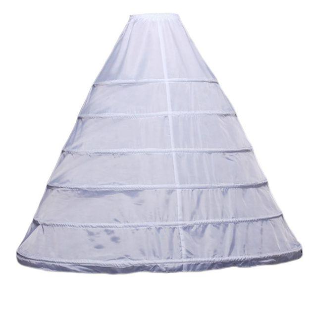 Womens Full Length White Crinoline Petticoat A Line 6 Hoops Skirt Slips Long Underskirt for Wedding Bridal Dress Ball Gown