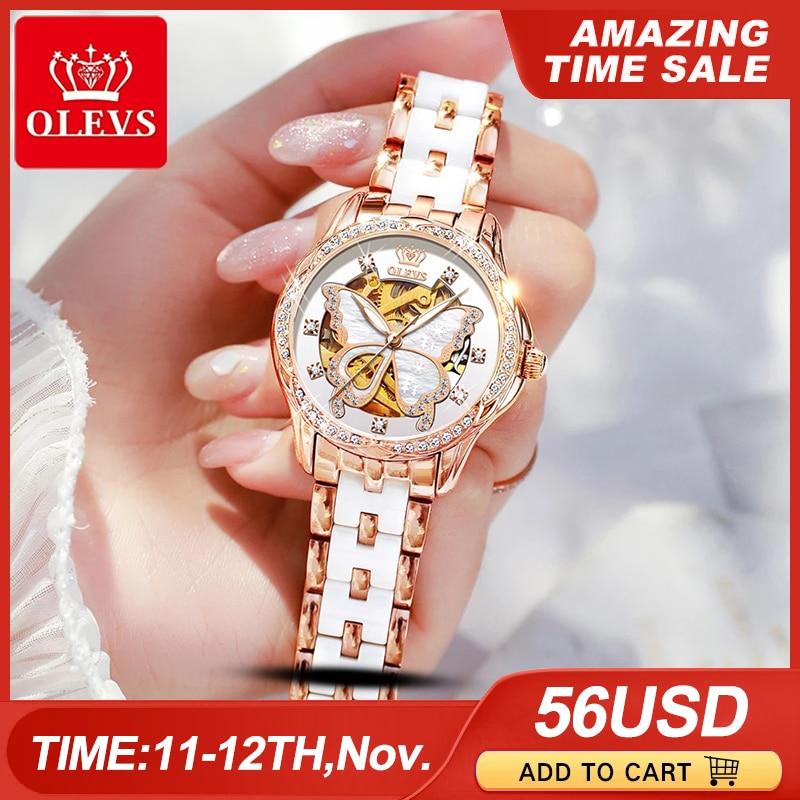 OLEVS Mechanical Women Watch Fashion Switzerland Luxury Brand Ladies WristWatch Automatic Ceramic Hollow Design montre femme
