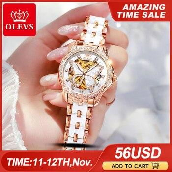 Женские Механические часы OLEVS, модные швейцарские роскошные брендовые наручные часы, автоматические керамические полые дизайнерские женские часы