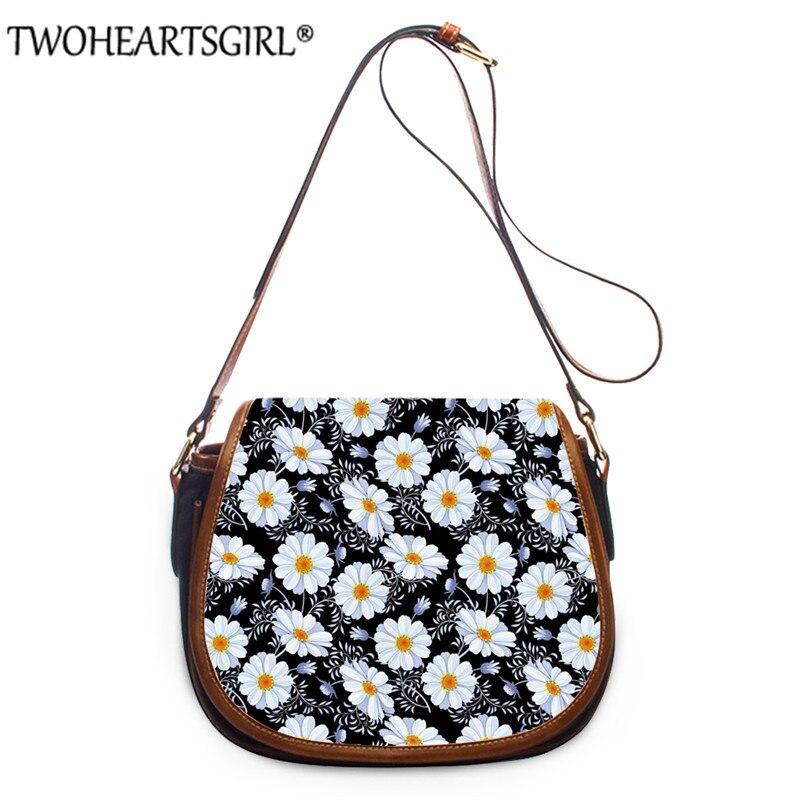 Twoheartsgirl Women PU Leather Handbag Floral Daisy Prints Crossbody Bag for Ladies Messenger Bag Shoulder BagsBolsa Feminina