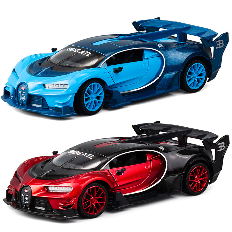 1:24 Diecast Toy Car Model Metal Wheels Bugattis GT Sports Car Simulation Pull Back Car Collection Kids Boys Toys Christmas Gift