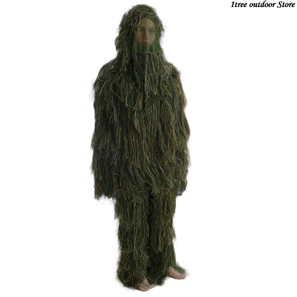 Confortável militar adultos floresta camuflagem caça 3d folha ghillie ternos militar camo cobrindo rede ternos selva|Roupas de camuflagem p/ caça|Esporte e Lazer - title=