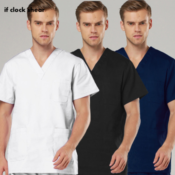 Men Scrub Sets Short Sleeved V Neck Tops+pants Pet grooming scrubs Work wear tooth beauty Uniform health service working clothes