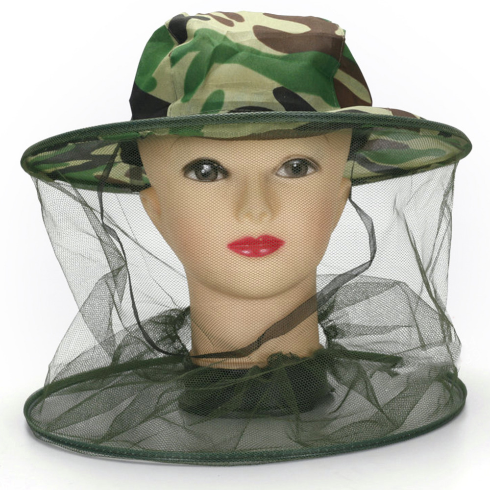1pc Anti-mosquito Camouflage Hat Mosquito Green Camouflage Insect Bug Mesh Head Net Face Protector Cap Outdoor Garden
