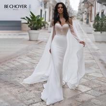 BECHOYER Graceful In Rilievo Abito Da Sposa In Raso Dellinnamorato Lungo Della Sirena Del Manicotto 2 In 1 Corte Dei Treni Abito Da Sposa Vestido de Noiva n170