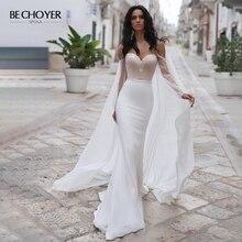 BECHOYER gracieuse perlée Satin robe de mariée chérie à manches longues sirène 2 en 1 Court Train robe de mariée Vestido de Noiva N170